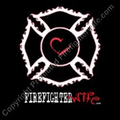 Fire Wife Maltese Cross Heart on Black
