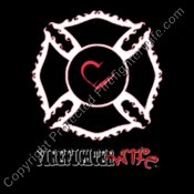 Fire Wife Maltese Cross Heart on White